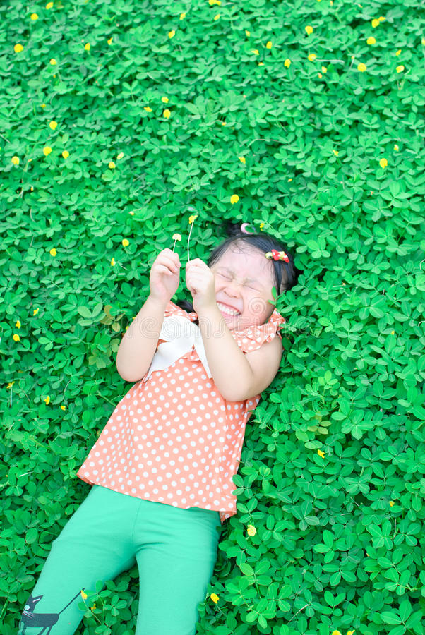 Download Girl lying on the lawn stock photo. Image of lawn, babyhood - 38148490