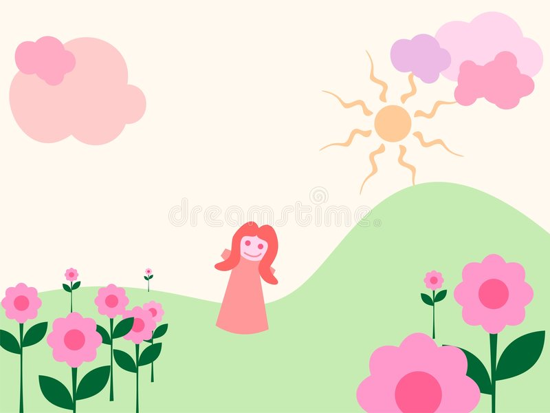 Girl in magic garden! stock illustration