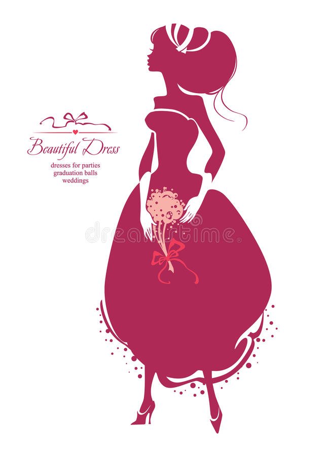Girl in a magnificent dress silhouette illustration vector illustration