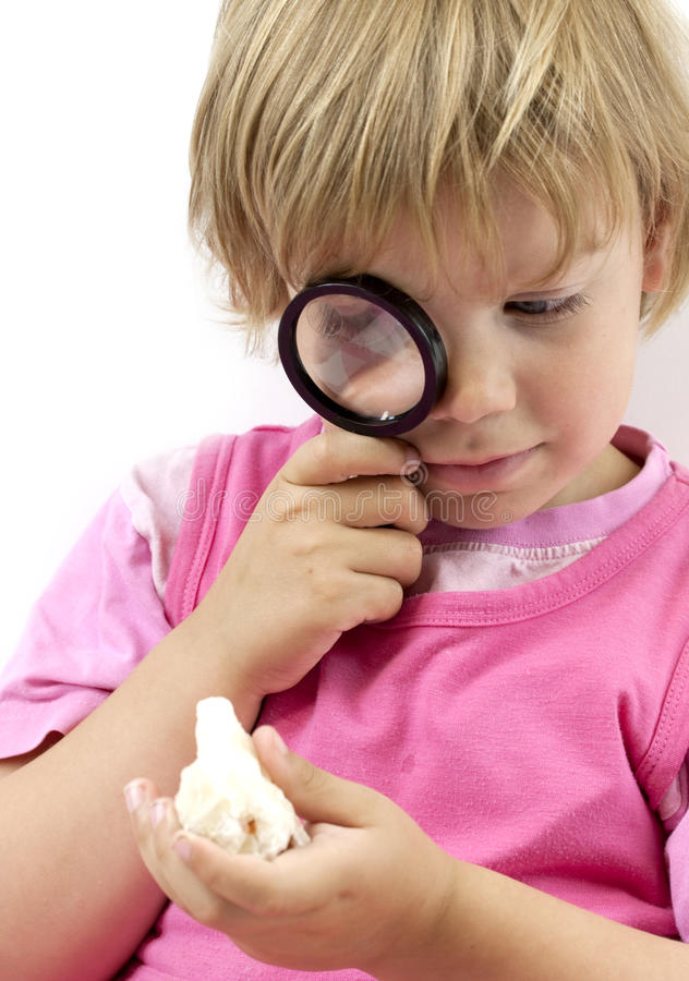 Download Girl with magnifying glass stock photo. Image of crystal - 26079888