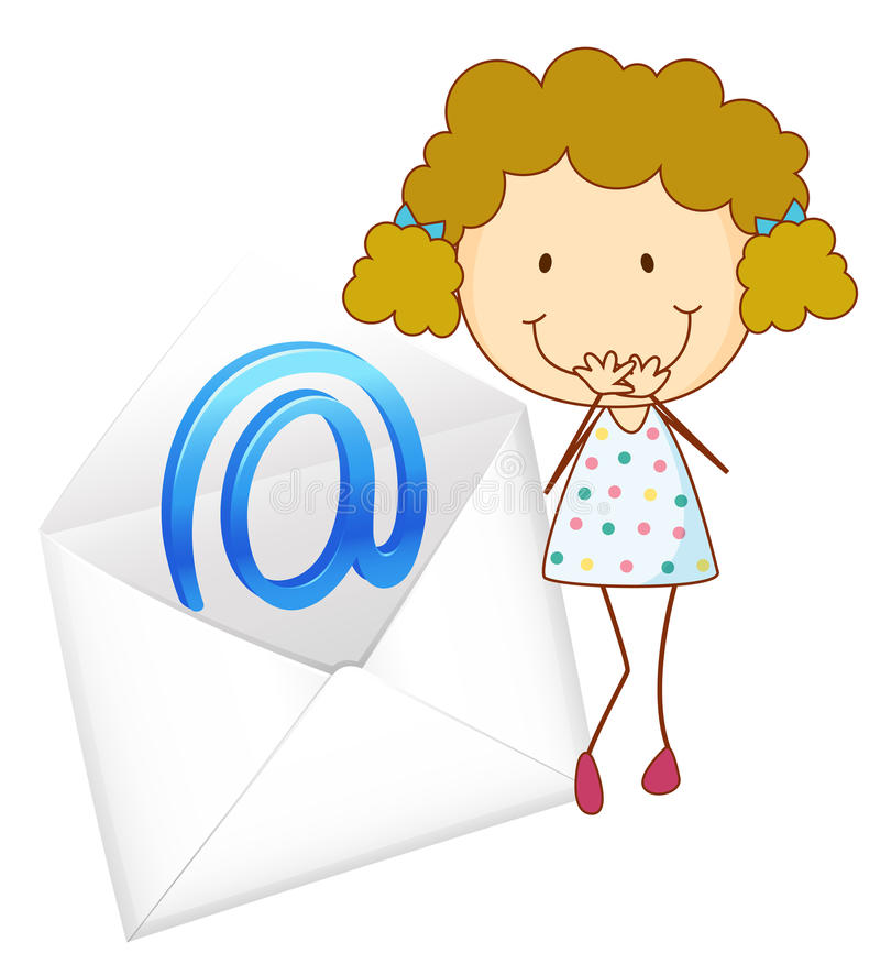 A girl with mail envelop vector illustration