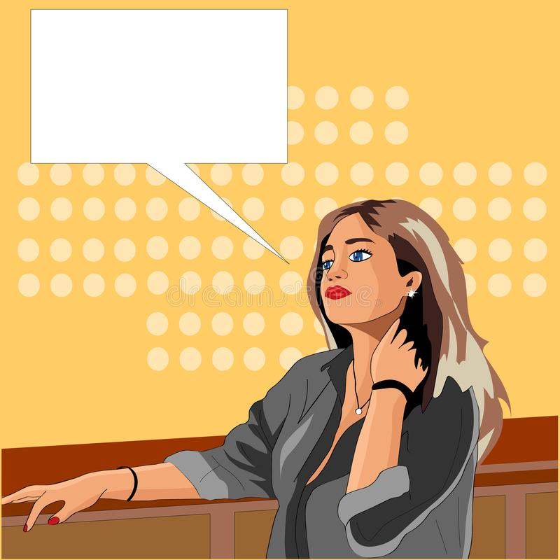 The girl makes an order from the bartender. Vector graphics royalty free illustration
