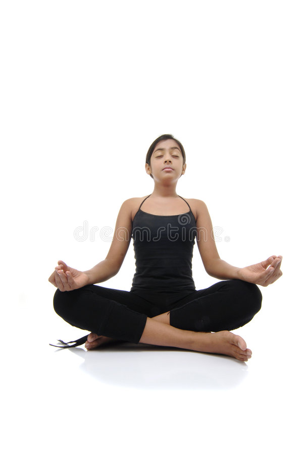 Girl Makes Pose Of Yoga Royalty Free Stock Photography
