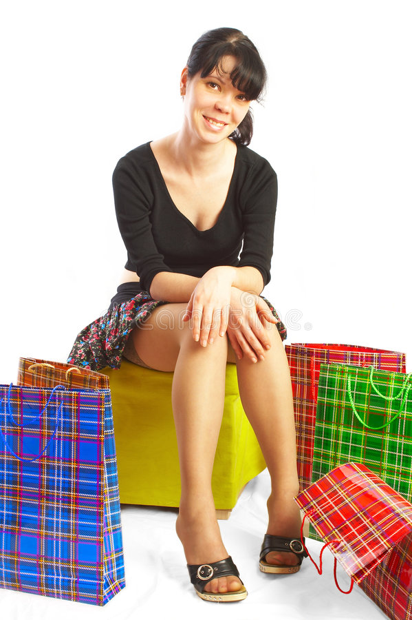 The girl makes purchases. stock photography