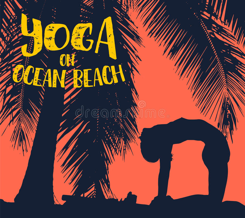 Girl makes yoga exercise on the tropical pam beach. Vector image. Girl makes yoga exercise on the tropical pam beach. Vector stock image stock illustration