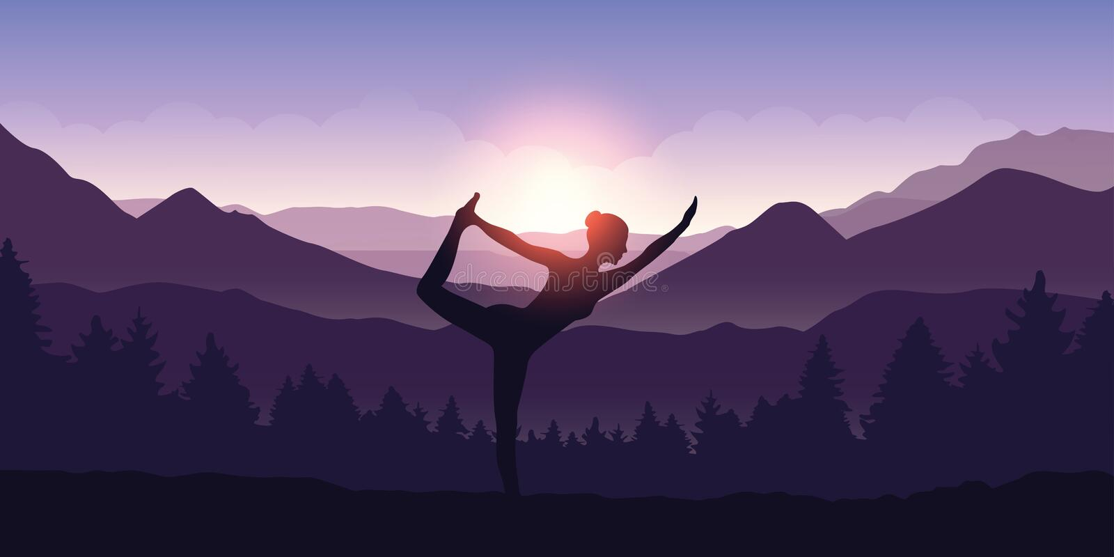 Girl makes yoga figure in the mountain landscape view at sunrise. Vector illustration EPS10 royalty free illustration