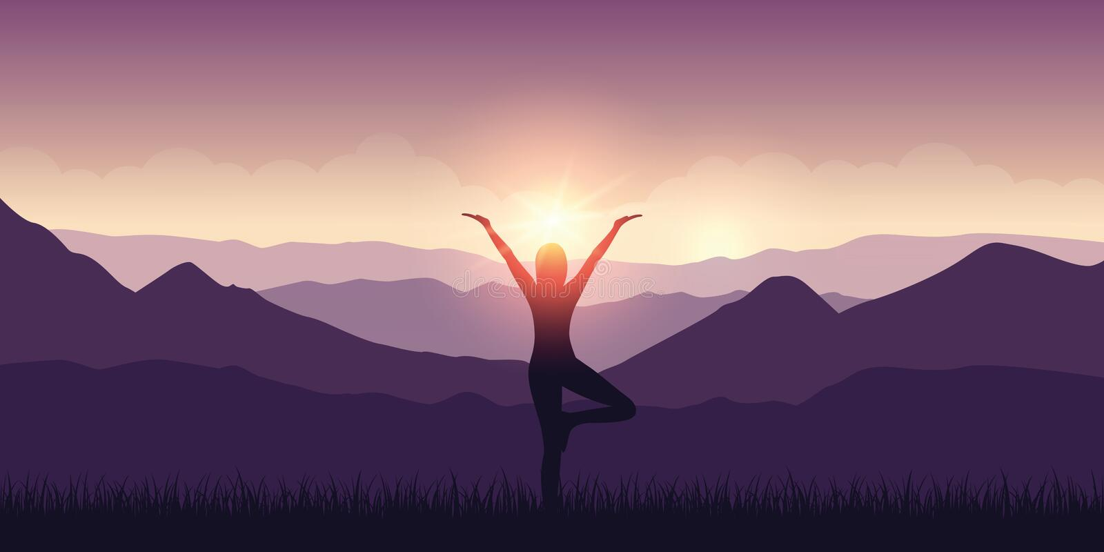 Girl makes yoga with mountain view purple landscape and sunshine. Vector illustration EPS10 royalty free illustration