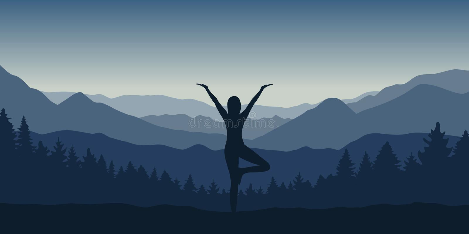 Girl makes yoga pose at beautiful blue mountain and forest landscape stock illustration