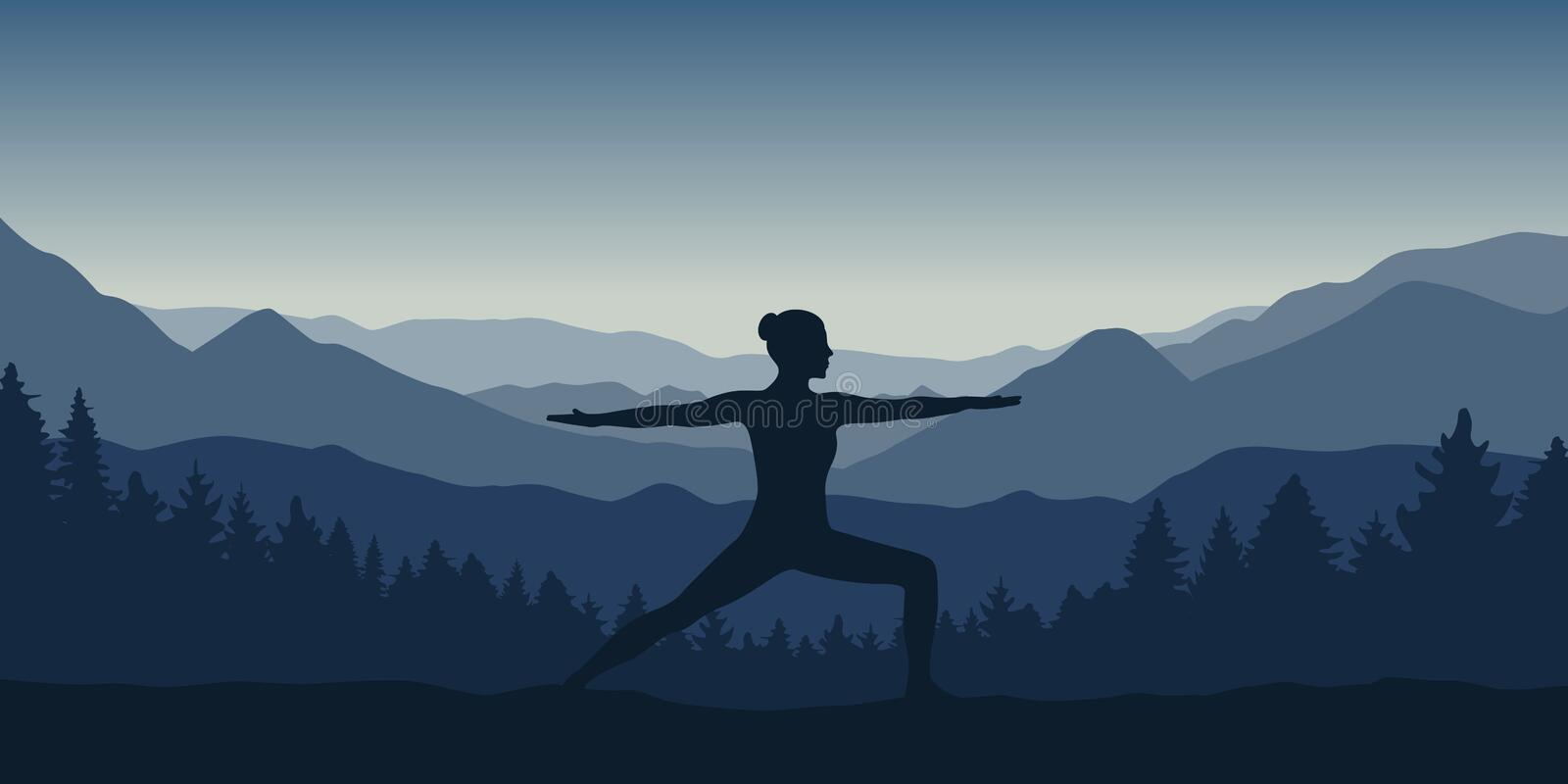 Girl makes yoga pose at beautiful blue mountain and forest landscape. Vector illustration EPS10 royalty free illustration