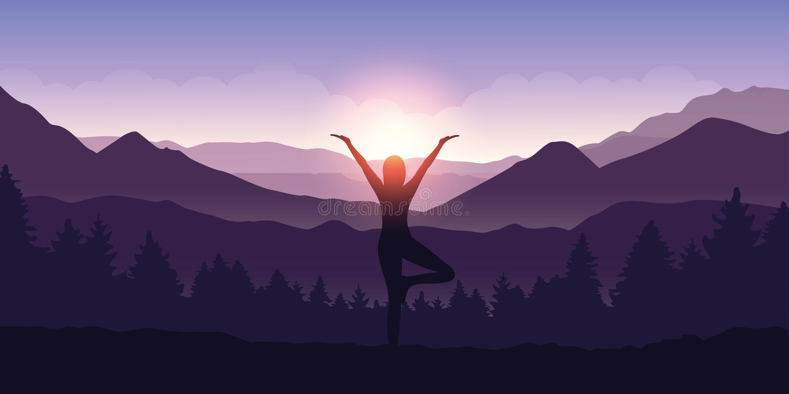 Girl makes yoga tree figure in the mountain landscape view at sunrise vector illustration