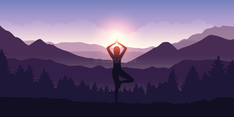Girl makes yoga tree figure in the mountain landscape view at sunrise. Vector illustration EPS10 stock illustration