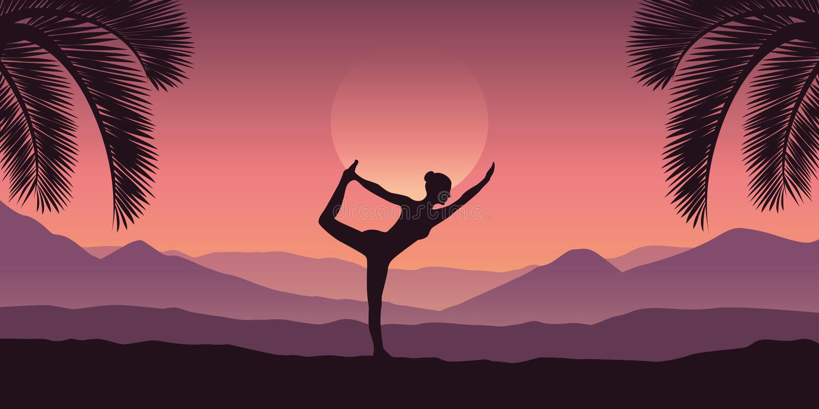 Girl makes yoga at tropical red mountain landscape in purple colors. Vector illustration EPS10 royalty free illustration