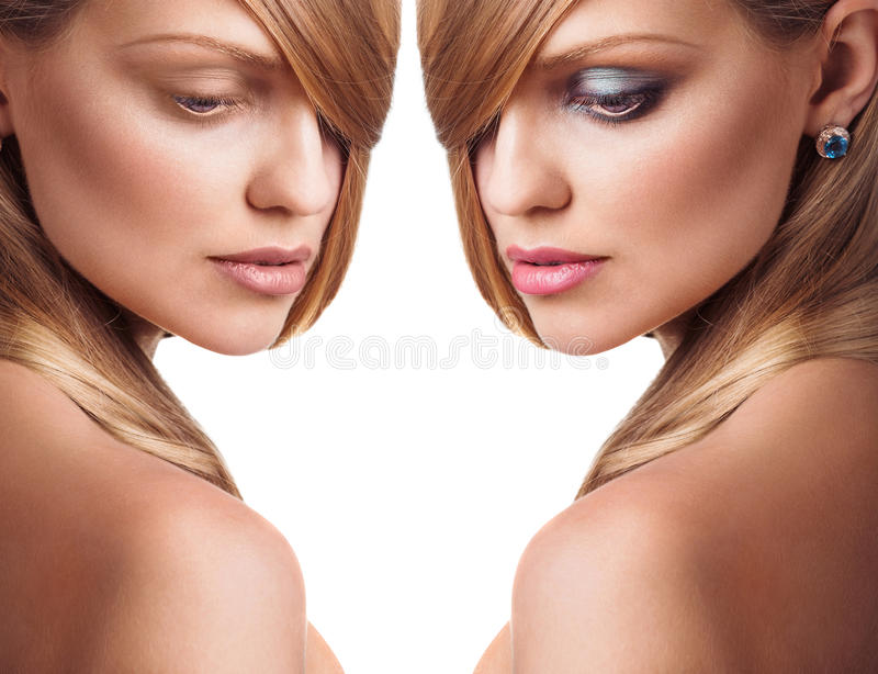 Girl without and with makeup stock images