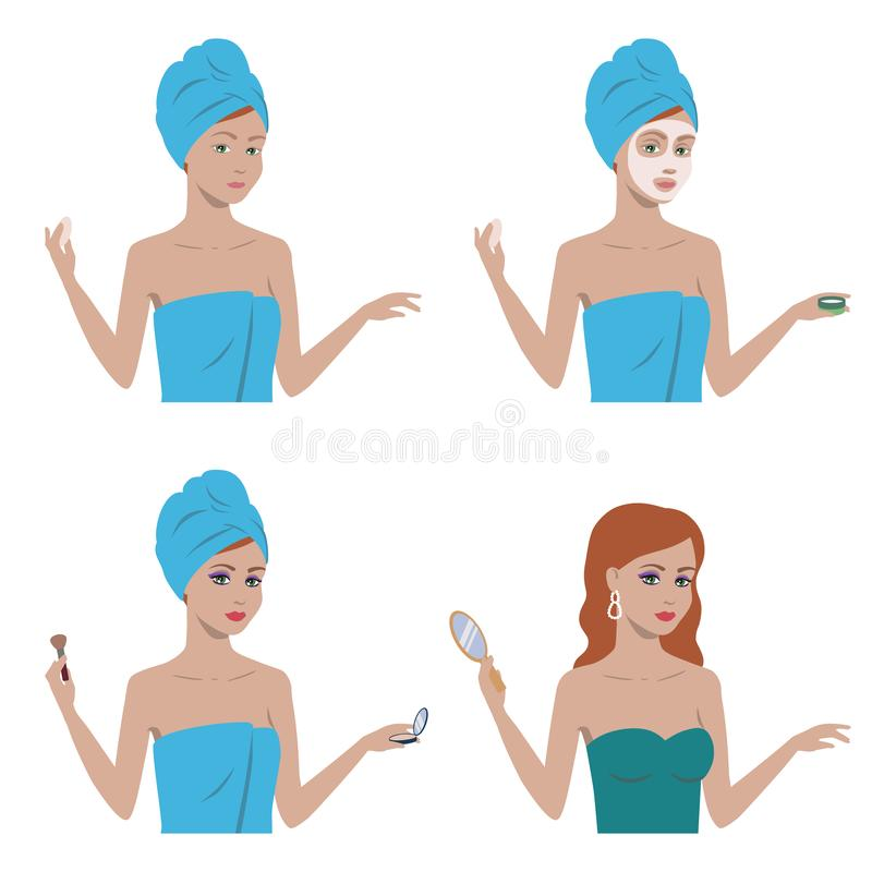Girl before and after makeup vector illustration