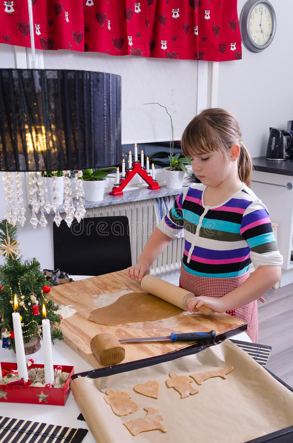 Download Girl making cakes stock photo. Image of board, family - 28162918