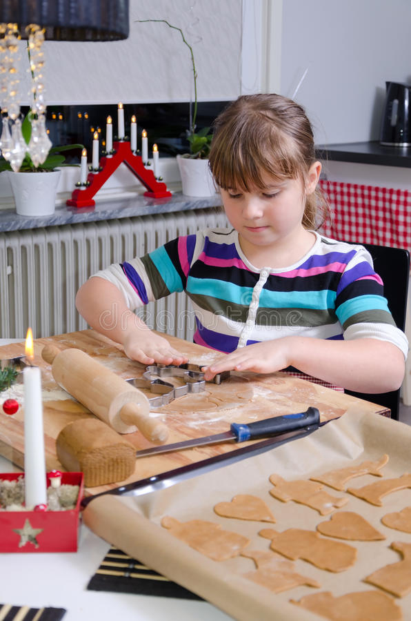 Download Girl Making Christmas Cakes Stock Photo - Image: 28164312
