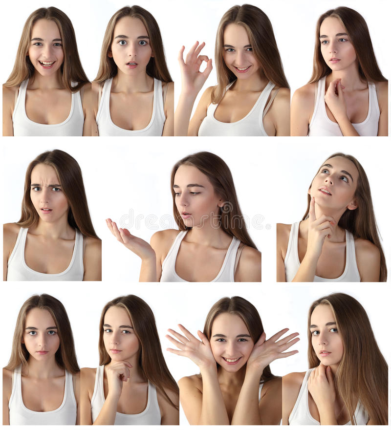 Girl making facial expressions royalty free stock photography
