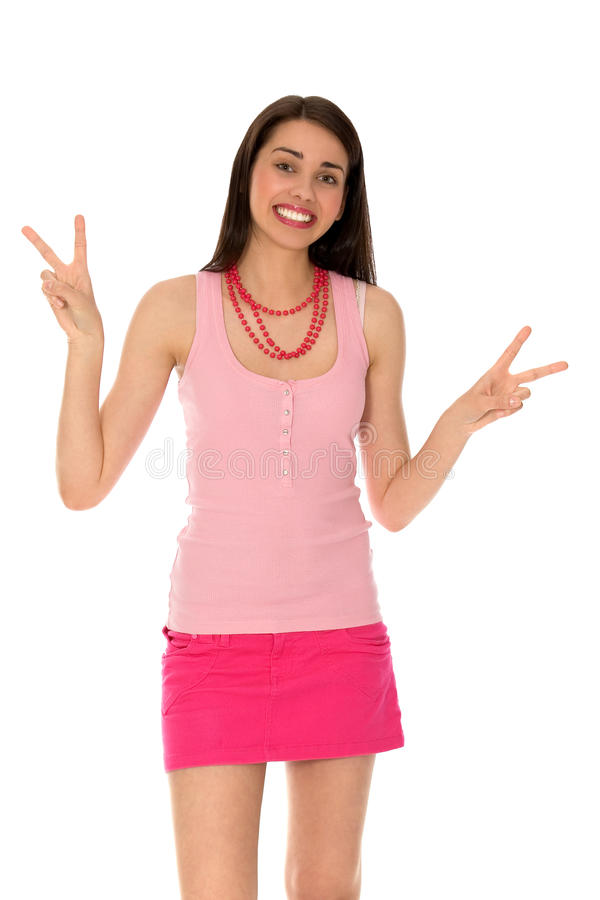 Download Girl Making Peace Sign stock image. Image of smiling - 14161387