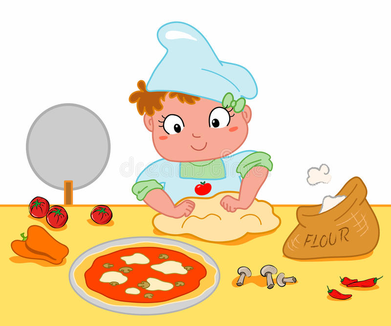 Girl making pizza. A cute young girl making pizza. Vector illustration