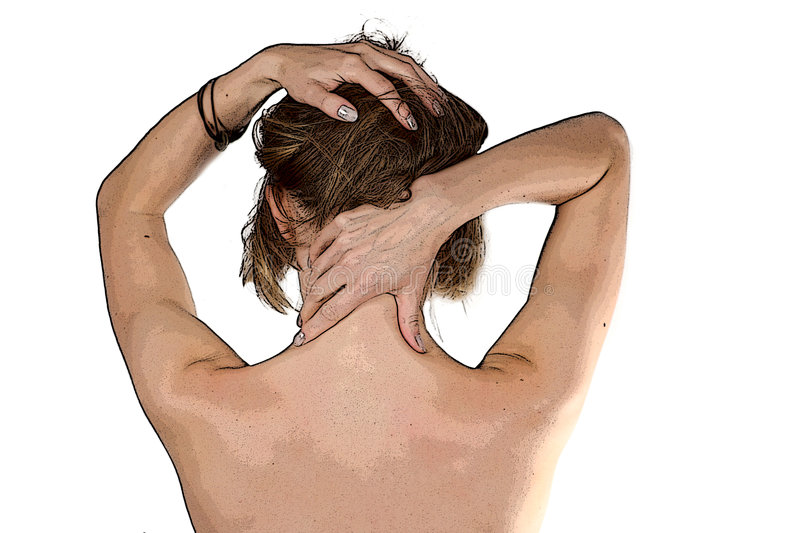 Download Girl making self-massage stock illustration. Image of nape - 3022309