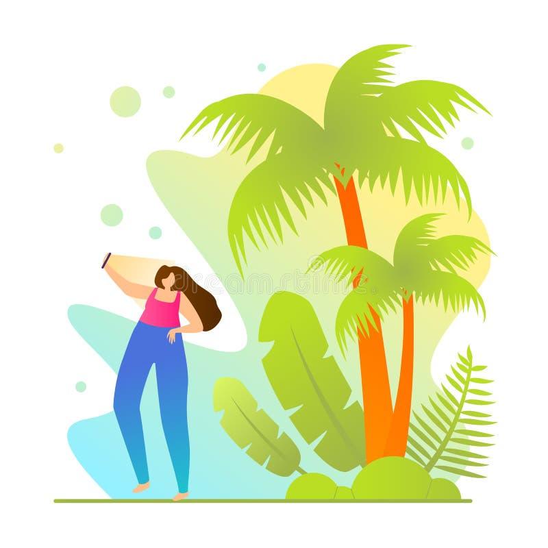 Girl Making Selfie on Vacation, Cartoon Flat. vector illustration