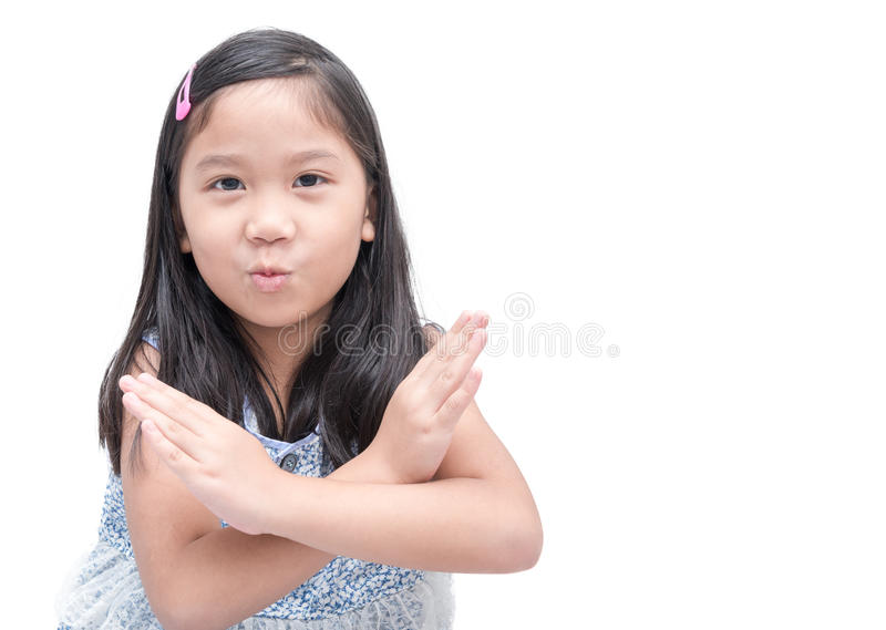 Girl making stop gesture over white background, royalty free stock image