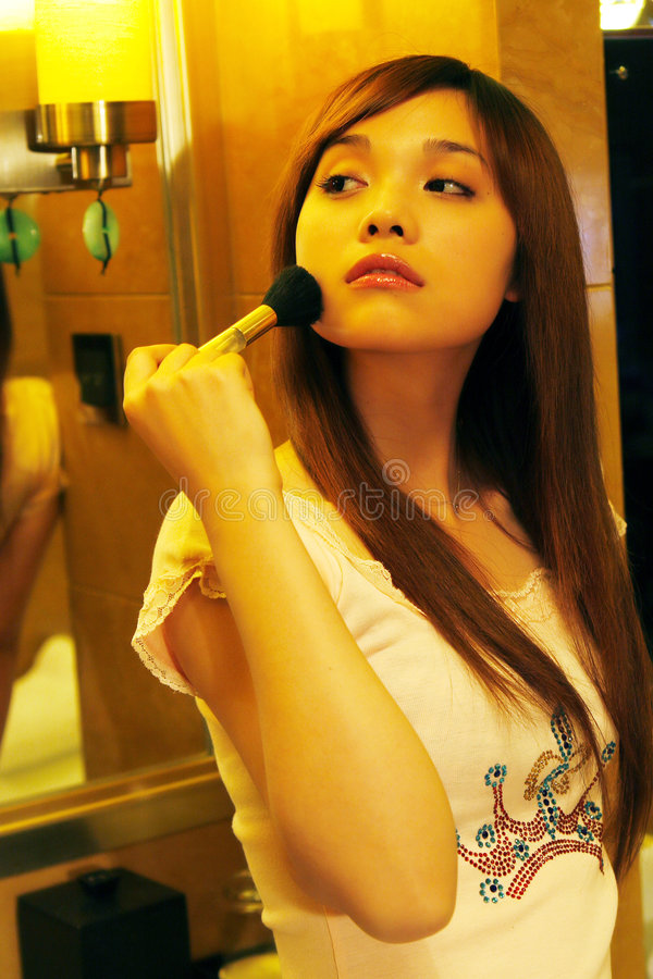 Download Girl during the making up. stock photo. Image of lips - 7438648