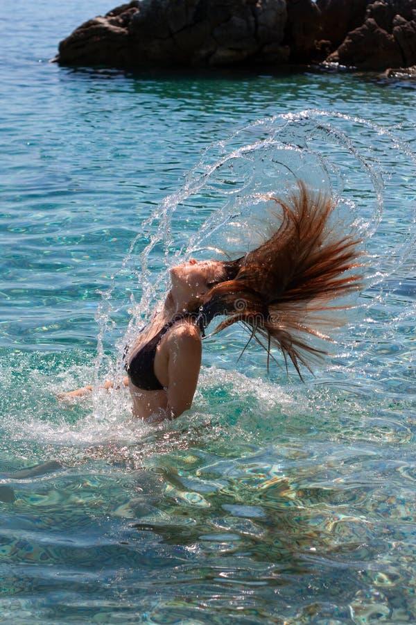 Download Girl making water splash stock photo. Image of lake, head - 15634704