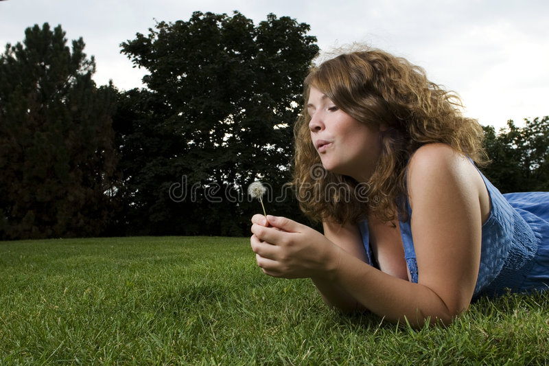 Download Girl making a wish stock image. Image of young, eyes, thinking - 6651731