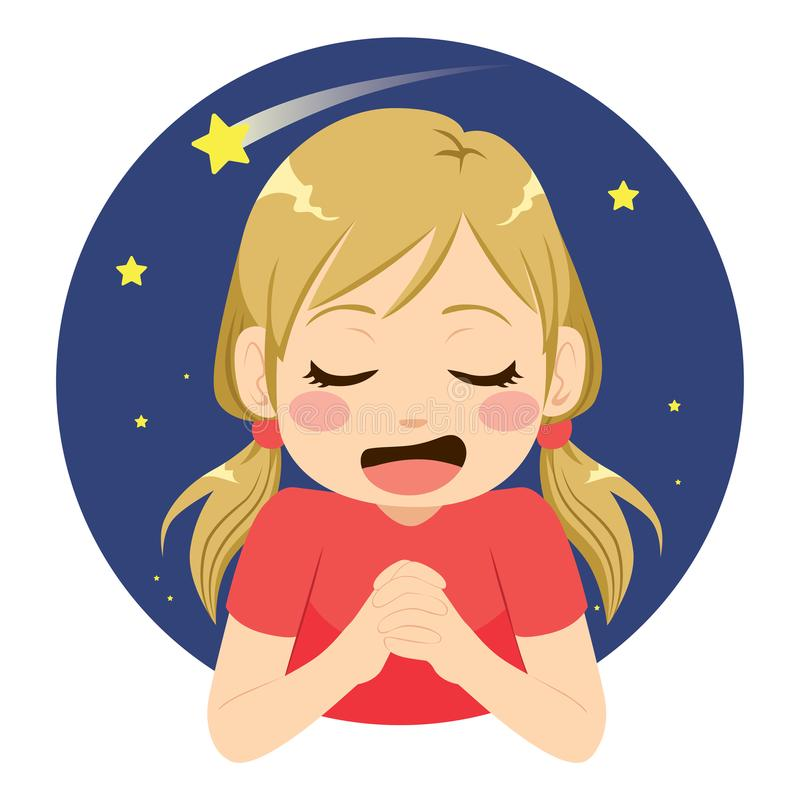 Girl Making Wish. Beautiful little girl making wish praying to shooting star with happy face expression vector illustration