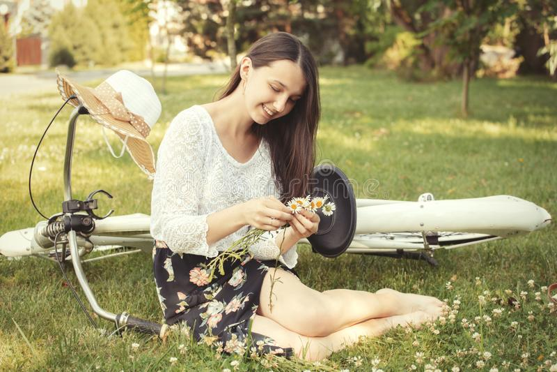 Girl making wreath stock photo