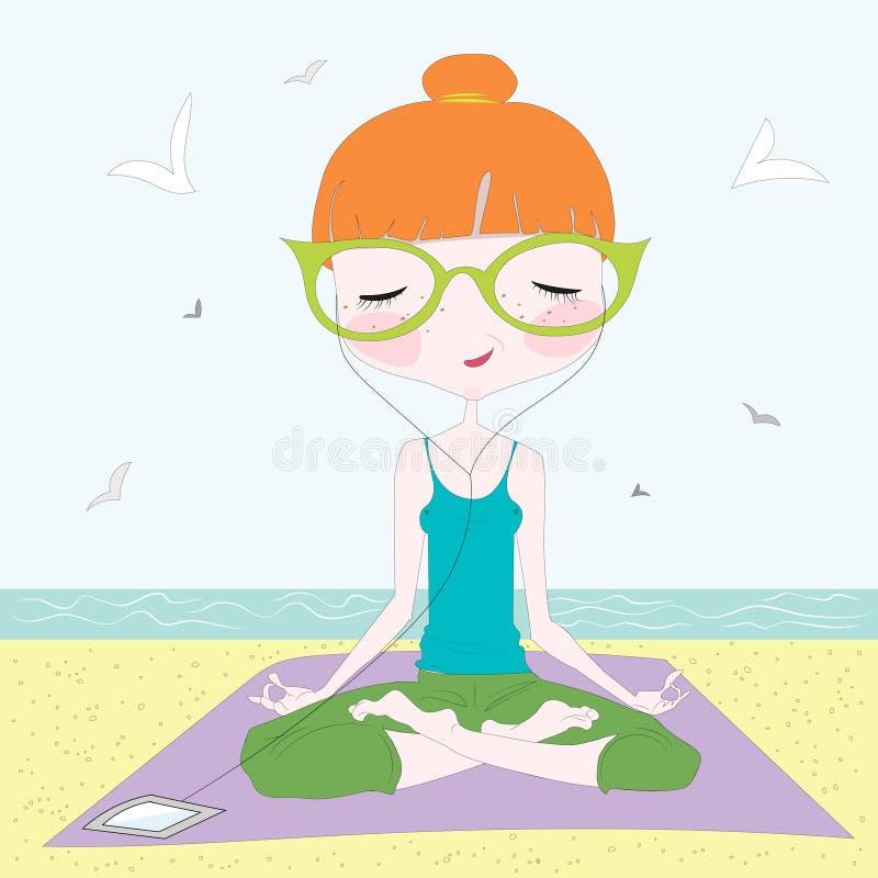 Girl making yoga on the beach stock illustration