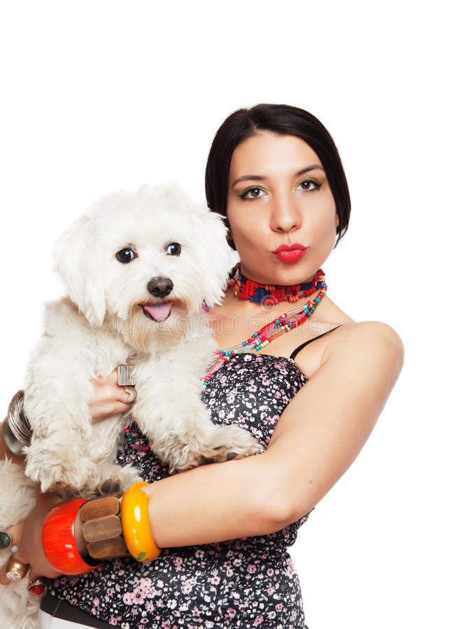 Download Girl with maltese dog stock image. Image of outfit, whole - 31134131