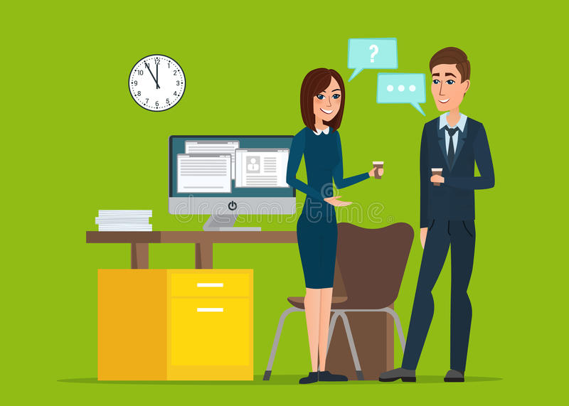 Girl and man businessmen talking office. Job Interview Task. Conversation Desk Working Computer. Business cartoon concept. Vector creative color illustrations vector illustration
