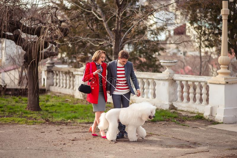 A girl and a man with a poodle. Girl with a men and a white poodle on nature royalty free stock photo