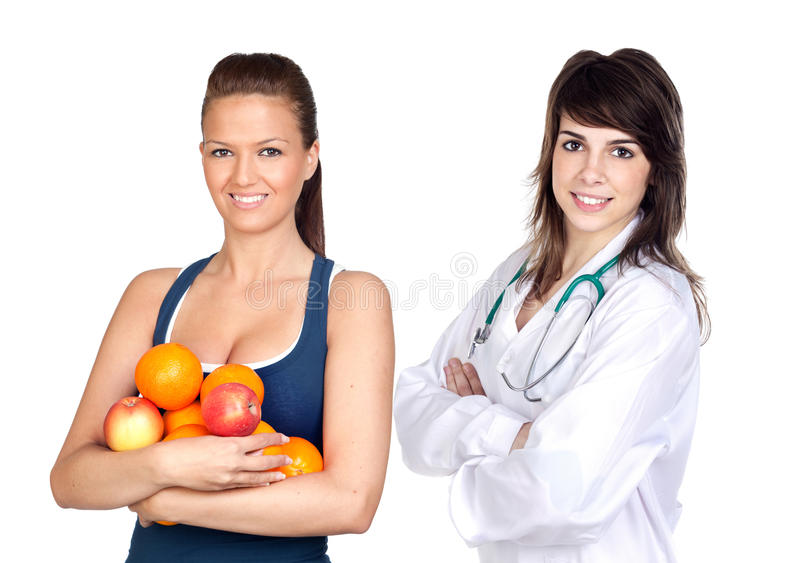 Girl with many fruits and nutritionist. Young pretty girl with many fruits and nutritionist isolated on white background stock images