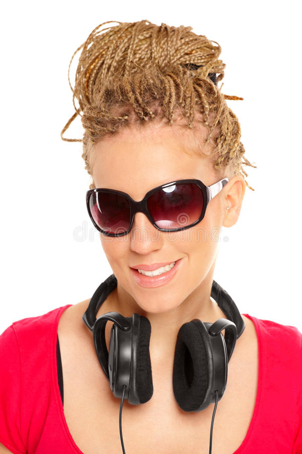 Download Girl Many Plaits Hairstyle With Headphones Stock Photo - Image: 12552454