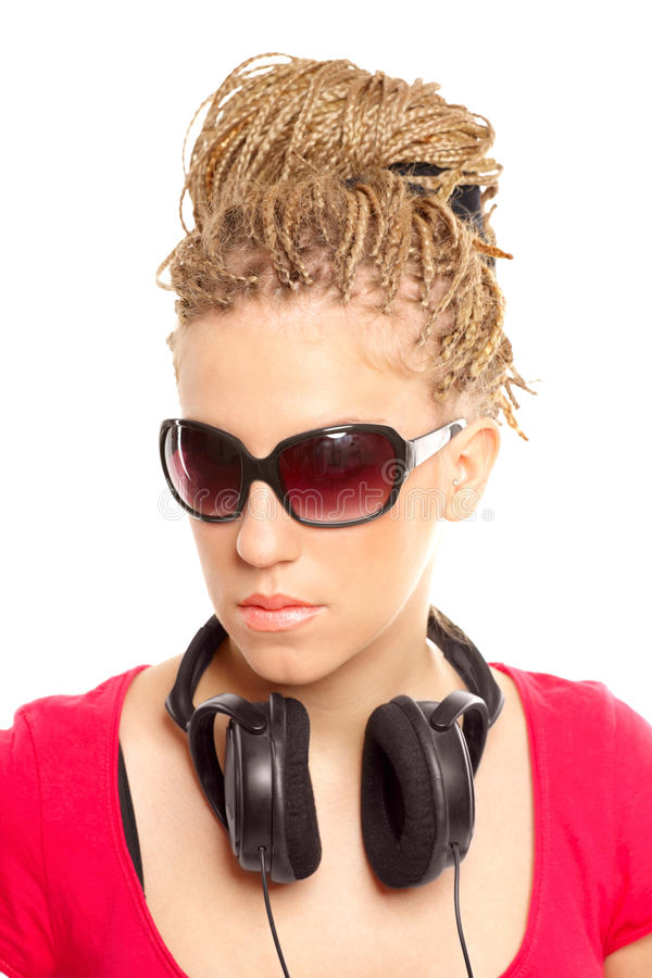 Download Girl Many Plaits Hairstyle With Headphones Stock Image - Image: 12671351