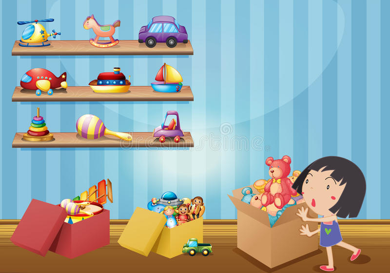 Girl and many toys on shelves royalty free illustration