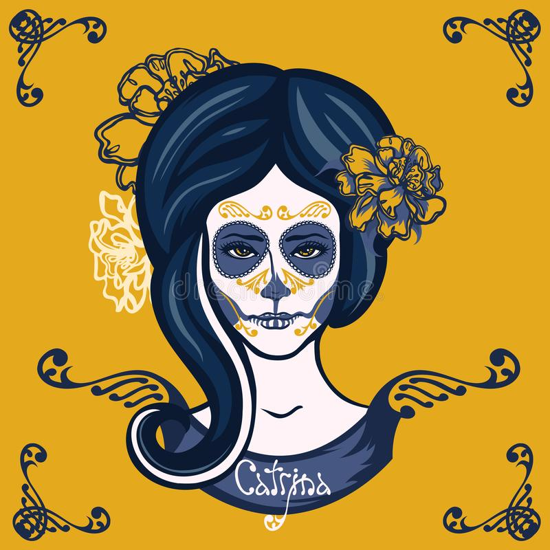 Girl with marigolds flowers in her hair and make-up to the Mexican holiday Day of the Dead. royalty free illustration