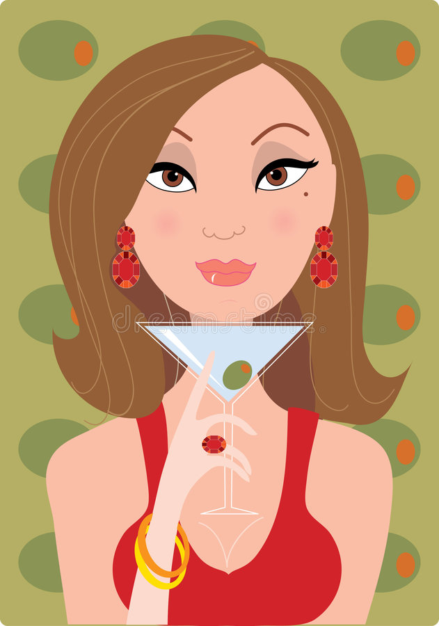 Girl & Martini. Woman holding a martini stock illustration