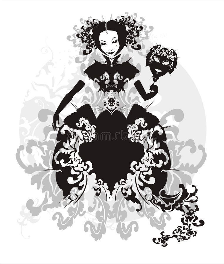 Girl with mask. Stylized fancy dressed girl with mask - Venetian masquerade