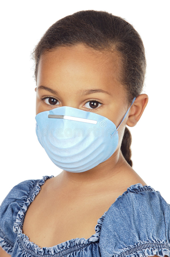 Girl with mask. A pretty girl with a blue mask royalty free stock photos