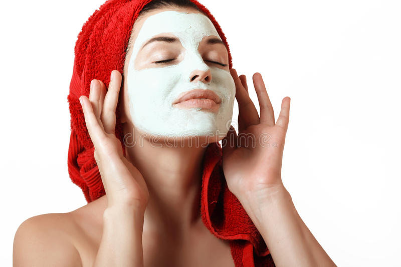 The girl in a mask for the face stock photos