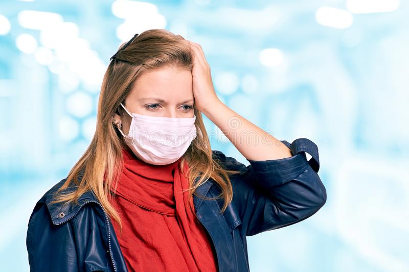 Girl in mask on face. Woman portrait. Protection equipment. Epidemic flu sick. Healthcare quarantine illness.  royalty free stock images