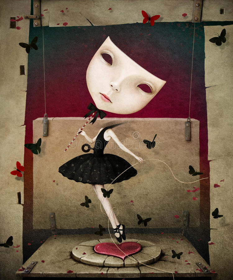 Girl with mask and heart royalty free illustration