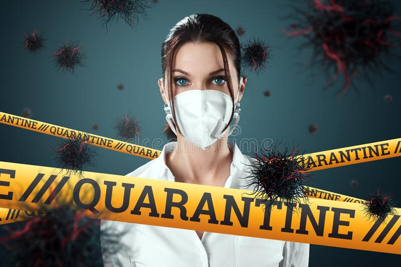 The girl in the mask is protected from particles of the virus flying in the air, the inscription on the tape is quarantine. Coronavirus, COVID-19, isolation royalty free stock photo