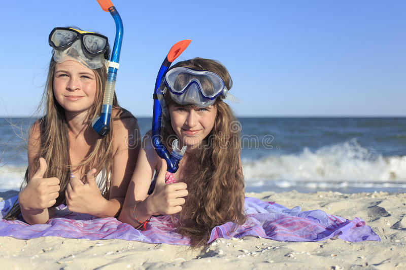 Girl with mask and snorkel for scuba diving. royalty free stock photos