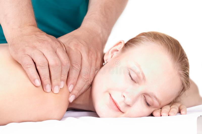 Girl Massage, Closed Eyes. Stock Images