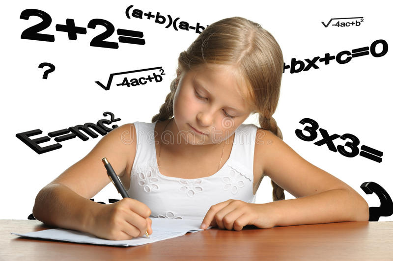 The girl and mathematical formulas. It is isolated on a white background stock illustration